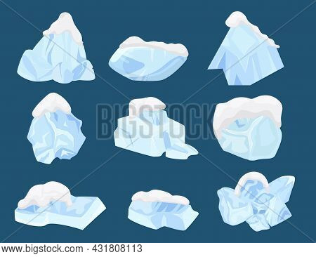 Cold Ice Set, Winter Frost , Vector Illustration. Crystal Blue Block Design, Freeze Water Collection