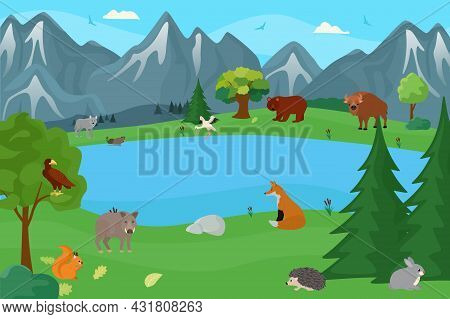 Predator Animal Wildlife At Forest, Vector Illustration. Europe Nature With Wild Mammal, Fauna Chara