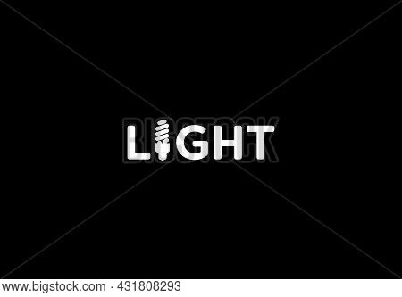 Vector Isolated White Light Text With Economical Bulb On Dark Background