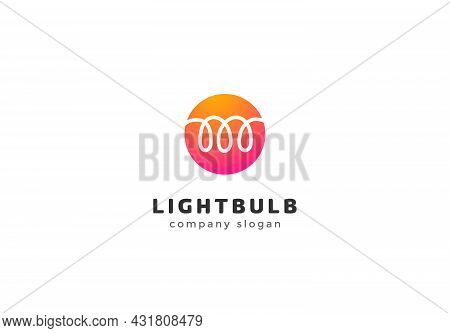 Light Bulb Logo Template With Helix Inside Isolated Vector Icon On White Background. Electric Compan