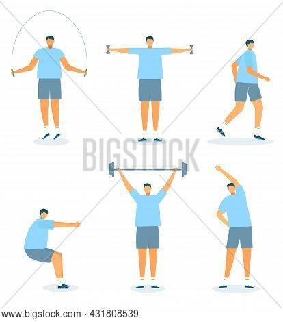 Exercise Set, Vector Illustration. Man Character Do Fitness, Isolated On White Workout For Healthy B