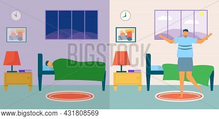 Wakeup Man, Vector Illustration. Young Male Character Rest In Bed, Person Sleep At Night, Bedroom Wi