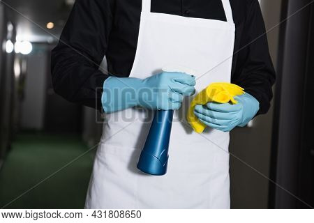 Partial View Of Housekeeper In Rubber Gloves Holding Spray Bottle With Rag