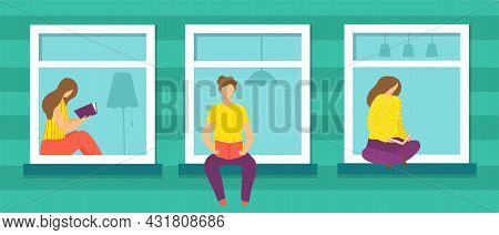 Window With Person, Vector Illustration. Flat Man Woman Character Sit At Home, Indoor Lifestyle Desi