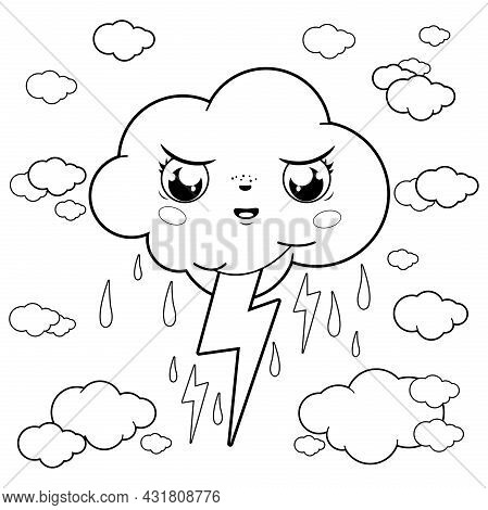 Stormy Cloud Character Raining And Thunder. Vector Black And White Coloring Page.