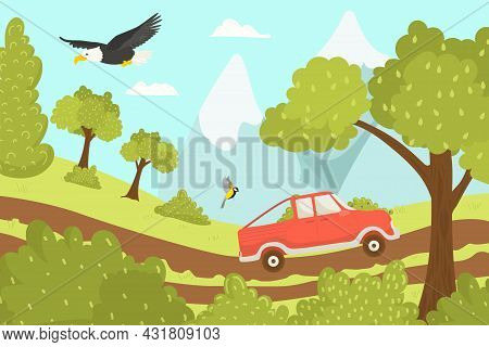Car Travel At Vacation, Rest In Road, Vector Illustration. Holiday Trip, Tourism Journey At Summer L