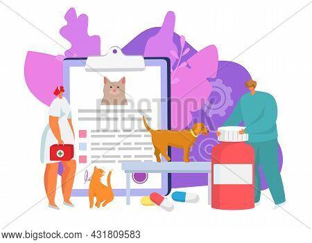 Veterinary Care In Clinic, Vector Illustration. Vet Doctor Character Help Pet, Veterinary Medicine P