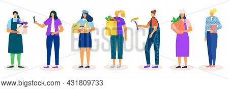 Profession For Woman Set, Isolated On White Vector Illustration. Flat Cleaner Worker, Hairdresser Pe