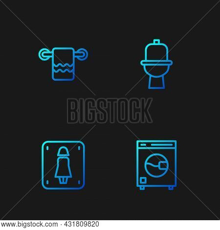 Set Line Washer, Female Toilet, Towel On Hanger And Toilet Bowl. Gradient Color Icons. Vector