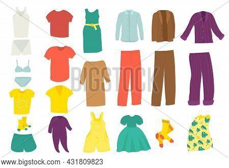 Clothes Set, Fashion Element, Isolated On White, Vector Illustration. Shirt, Dress, Skirt, Jacket De