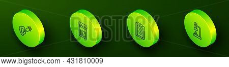Set Isometric Line Syringe, Jar With Additives, Clinical Record And Test Tube Flask On Fire Icon. Ve