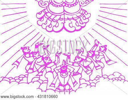 Sketch Of Different Types Of Lord Krishna, Vishnu Avatar Outline Editable Illustration