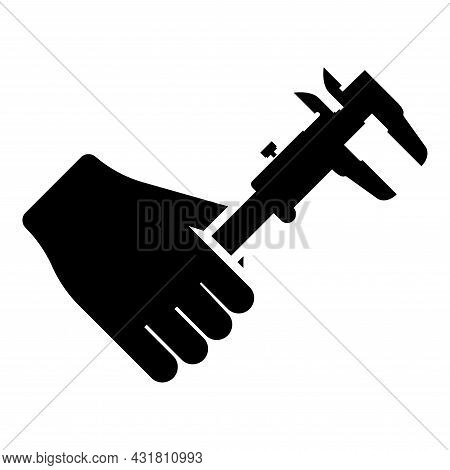 Calliper In Hand Caliper In Arm Measuring Device Measure Use Icon Black Color Vector Illustration Fl