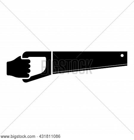 Wood Saw In Hand Tool In Use Arm For Cutting Timber Symbol Sawmill Concept Icon Black Color Vector I