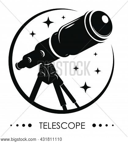 Monochrome Emblem Telescope On Tripod For Observing Space, Stars And Planets Of Solar System. Space