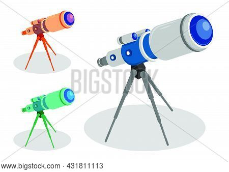 Telescope On Tripod For Observing Space, Stars And Planets Of Solar System. Space Exploration. Carto