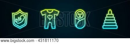 Set Line Baby On Shield, Clothes, Newborn Baby Infant Swaddled And Pyramid Toy. Glowing Neon Icon. V