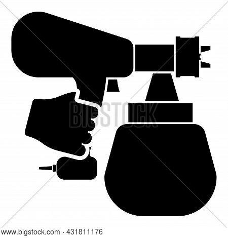 Spray Gun Holding In Hand Sprayer Using Arm Use Tool Atomizer Pulverizer Icon Black Color Vector Ill