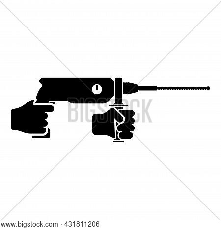 Electric Rotary Hammer Drill In Hand Holding Tool Use Arm Using Power Tool Icon Black Color Vector I