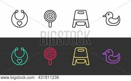 Set Line Baby Bib, Lollipop, Potty And Rubber Duck On Black And White. Vector