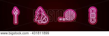 Set Line Burning Match With Fire, Forest Tree, Fire Hose Reel And Climber Rope. Glowing Neon Icon. V