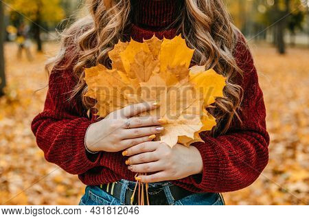 Faceless Portrait Of Woman With Maple Leaves. Activities For Happy Fall, Improve Yourself, Ways To B