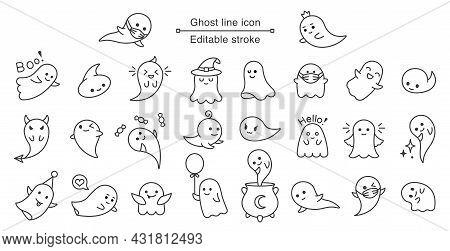 Halloween Ghost Line Icon. Vector Cute Line Art Ghost. Editable Stroke.