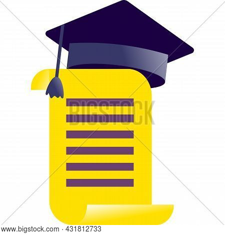 Diploma Icon Flat Vector Degree Award Certificate