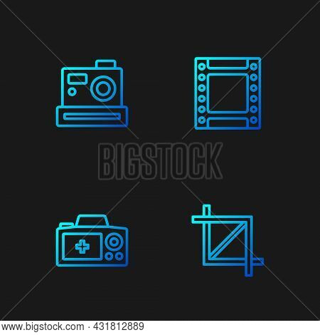 Set Line Picture Crop Photo, Photo Camera, And Camera Roll Cartridge. Gradient Color Icons. Vector