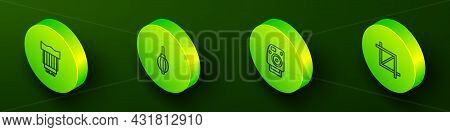 Set Isometric Line Camera Photo Lens, Dust Blower, Photo Camera And Picture Crop Icon. Vector