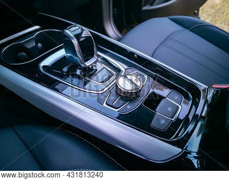Close Up Of Multimedia System Control And Gearshift In Interior Of Modern Premium Car/ No People. To
