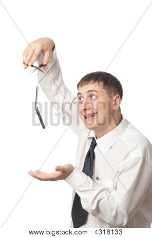 Businessman Cut Off Invisible Thread