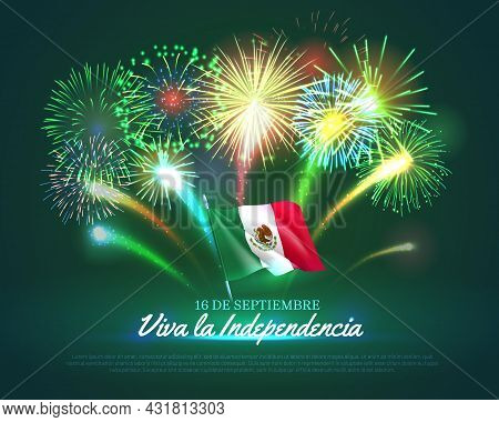 Shiny Fireworks Banner For Mexico Independence Day. National Day Of Mexico Country Celebration Backg