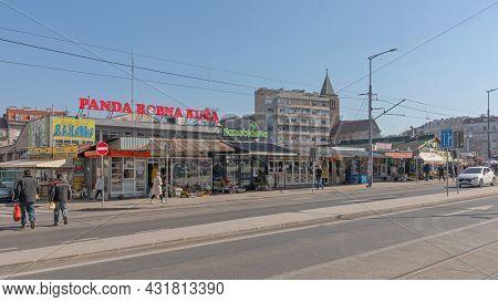 Belgrade, Serbia - February 23, 2021: Exterior Of Bajloni Green Market At Winter Day In Belgrade, Se