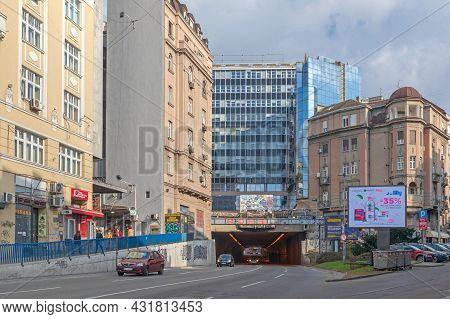 Belgrade, Serbia - February 14, 2021: Belgrade Tunnel Under Terazije At Winter Day In Belgrade, Serb