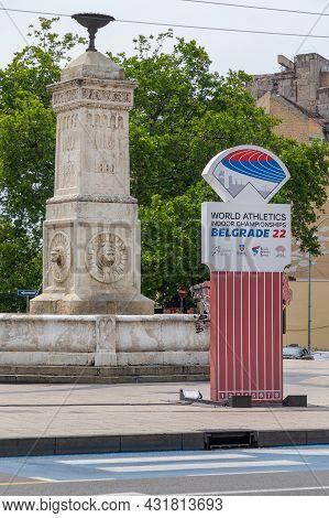 Belgrade, Serbia - June 11, 2021: World Athletics Indoor Championships Belgrade 22 Sign Post In City