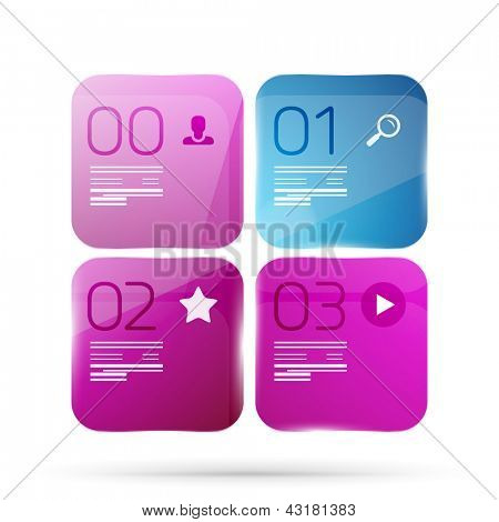 Modern glass geometrical infographics. Can be used as numbered banners, background template, block schemes, web layout