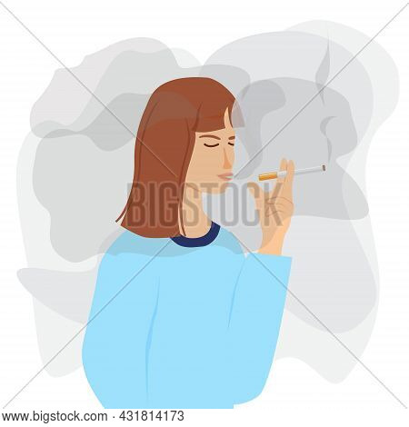 A Girl Is Holding A Cigarette In Her Hands. A Young Woman Smokes. Nicotine Addiction, Harmful Habit,