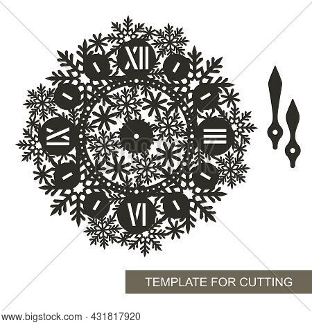 Silhouette Of Decorative Wall Clock. Roman Numerals, Hour And Minute Hands, Openwork Dial With A Pat