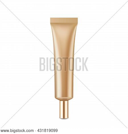 Make-up Beauty Cream Blank Tube Packaging Vector. Skincare Protective Lotion Elegant Tube Container