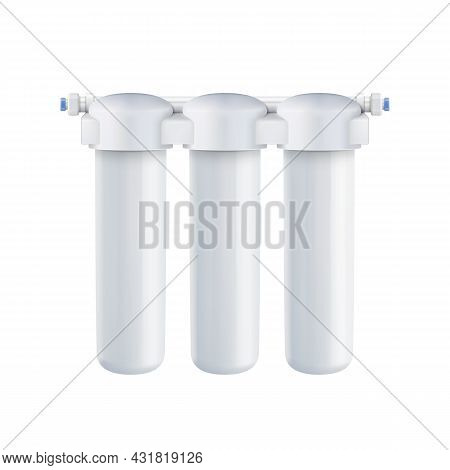 Water Purification And Filtration System Vector. Blank Plumbing Cartridges With Mineral For Cleaning