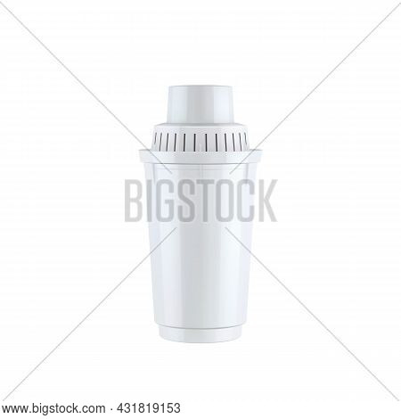 Water Filter Cartridge For Filtering Drink Vector. Blank Cartridge For Purification And Cleaning Nat