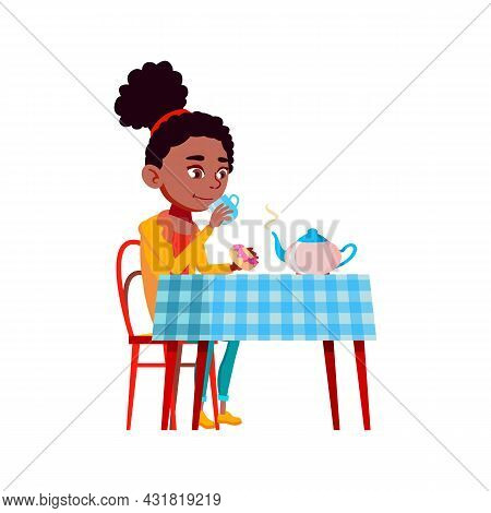 Tea Drinking Teen Girl At Table In Morning Vector. African Teenager Lady Eating Donut And Drinking E