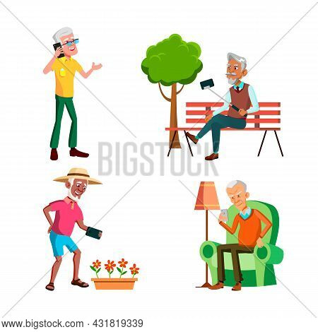 Old Men Using Phone For Communication Set Vector. Elderly Guy Talking On Cellphone And Reading Sms,