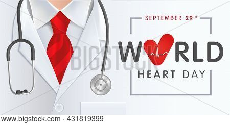 World Heart Day, Doctor, Stethoscope And Red Tie. Vector Illustration Concept For Heart Day Banner O
