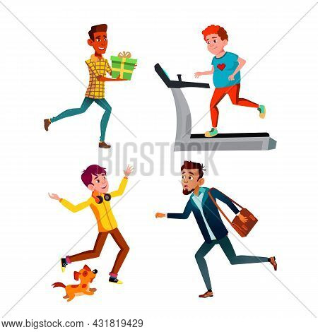 Teen Boys Hurry Running And Exercising Set Vector. Teenager Hurry Running At Work And Birthday Party