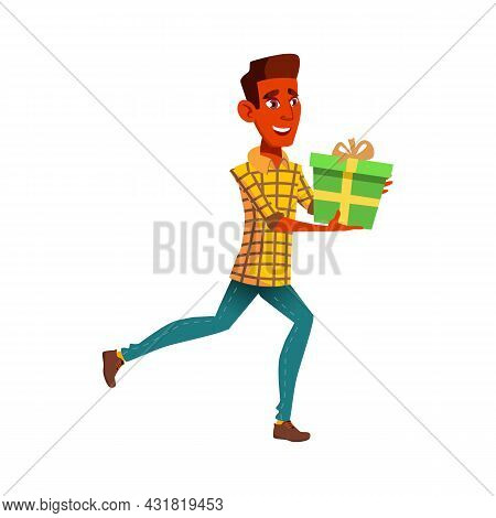 Teen Boy Run At Birthday Party With Gift Vector. Positive Mood Teenager Guy Late And Run With Presen