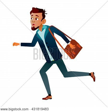Teen Boy Student Late And Run To University Vector. Stressed And Anxious Teenager With Bag Run On Ed