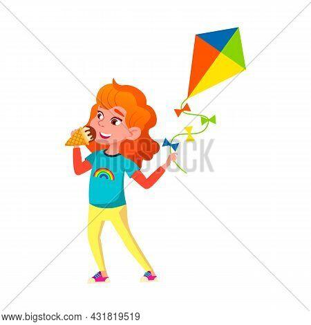School Girl Eating Ice Cream Sweet Dessert Vector. Schoolgirl Playing With Kite And Eat Ice Cream In