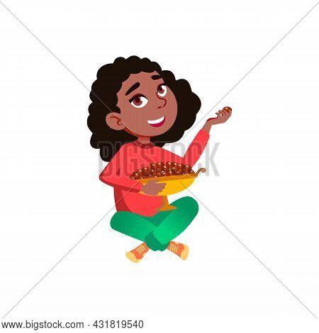 School Girl Kid Eating Chocolate Candies Vector. Happy African Little Schoolgirl Child Sitting On Fl